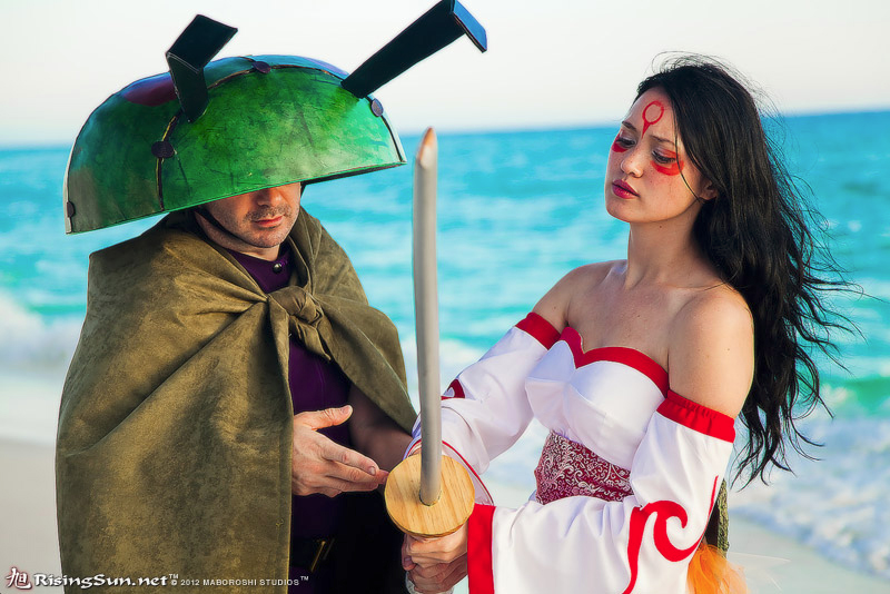 Okami: Gijinka Amaterasu + Issun by elysiagriffin