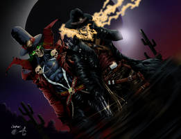 Gunslinger Spawn And Western Ghost Rider by liquid2042