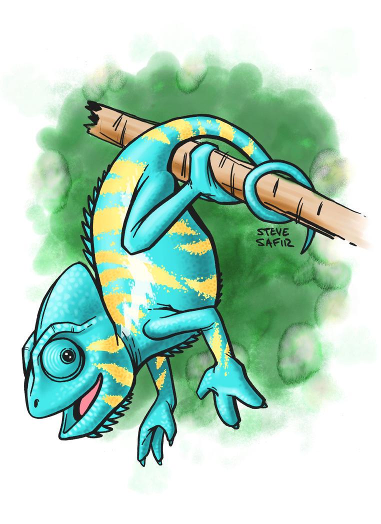 chameleon hanging from branch by stevesafir