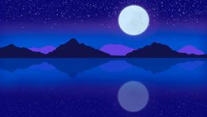Night Lake Reflection