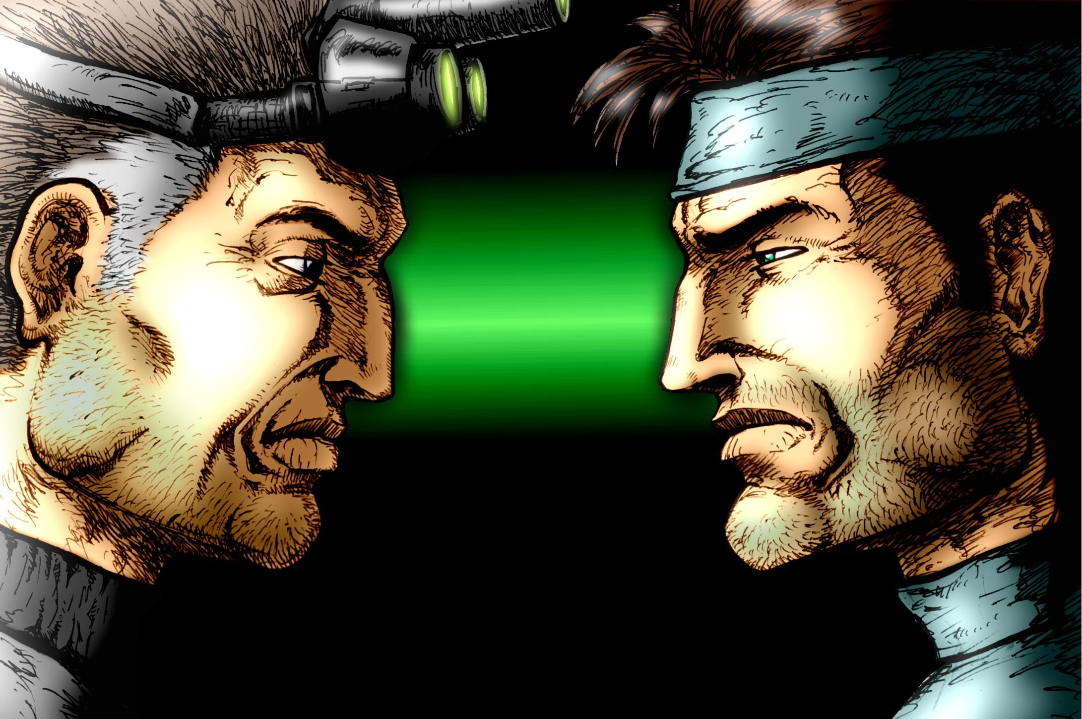 Sam Fisher VS Solid Snake by kleju