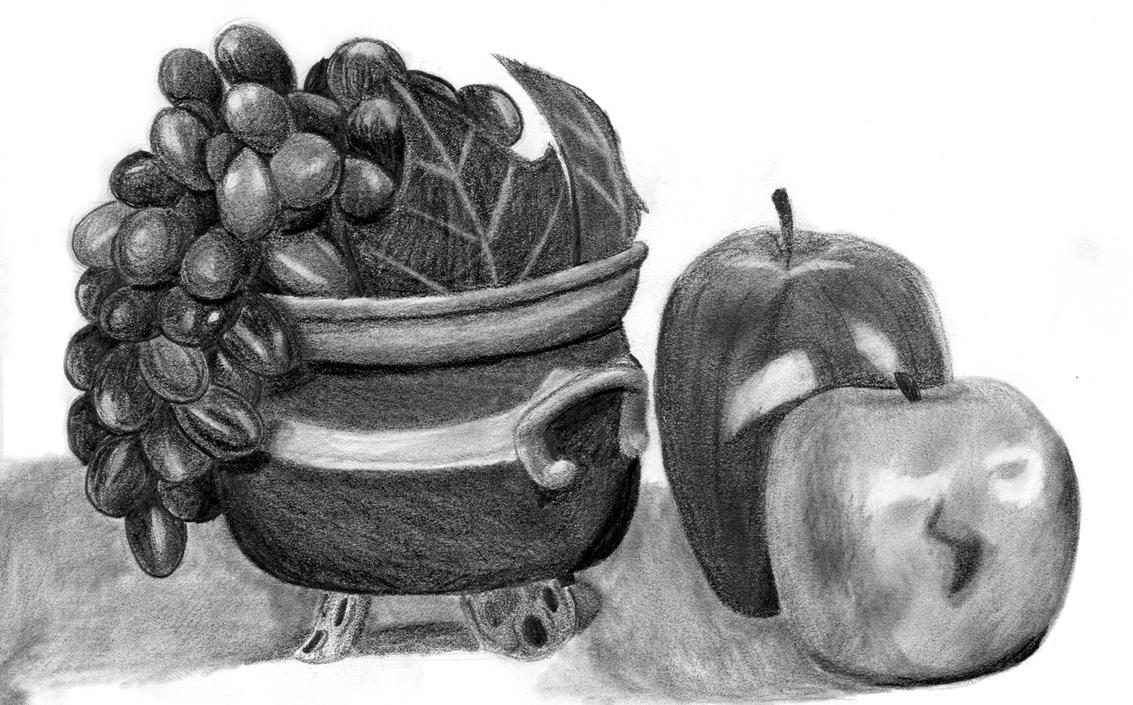 Fruit Pencil Drawing By Shibalove