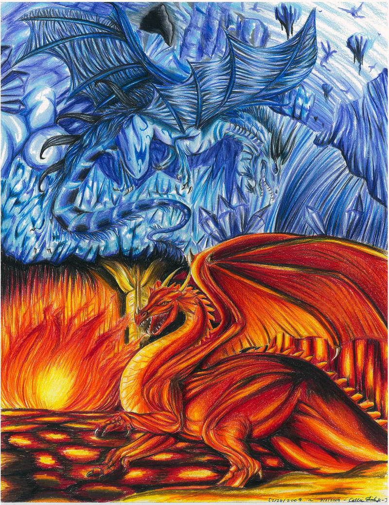 fire dragon vs ice dragon drawing the image kid has it. Black Bedroom Furniture Sets. Home Design Ideas