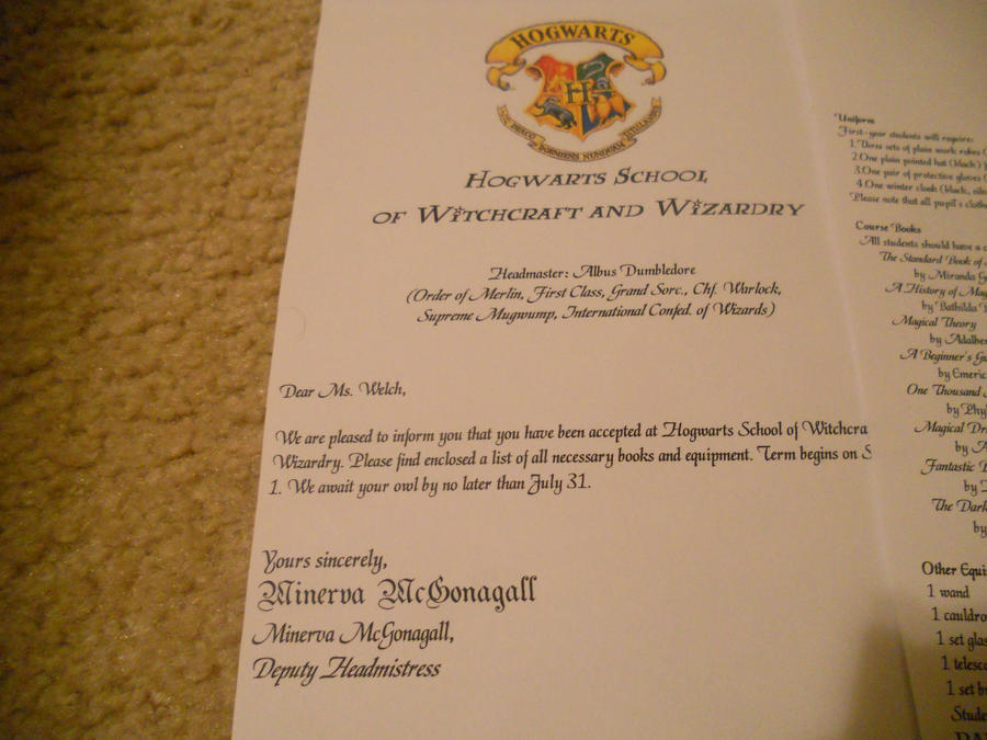 My Hogwarts Letter PT 1 by Hogwarts Crest On Letter