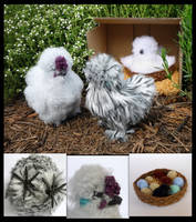 Silkie chickens by LunasCrafts