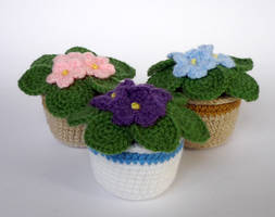 Crocheted African violets by LunasCrafts