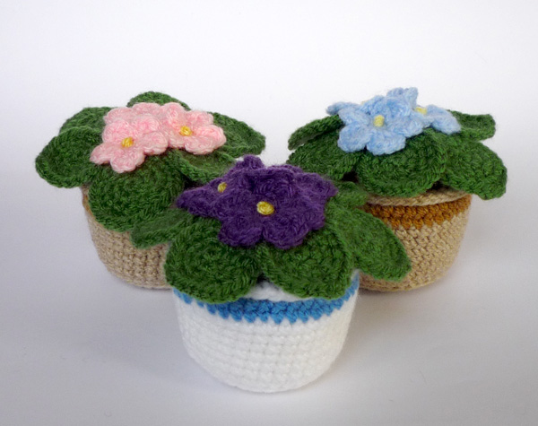 Crochet Violet Flower Pattern : Crocheted African violets by LunasCrafts on DeviantArt