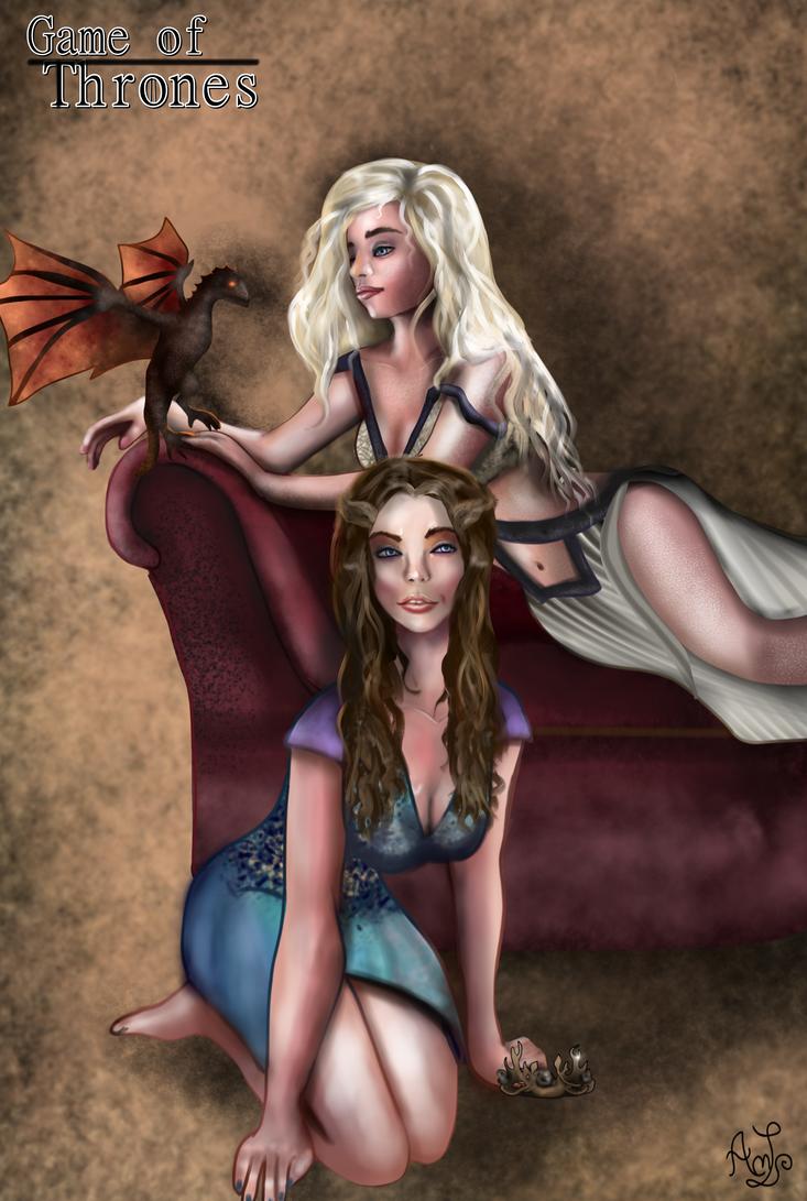 Margaery and Daenerys Pin-ups by AndreeaLupsaNL