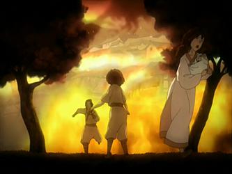 Jet's village burns by Gingacreator