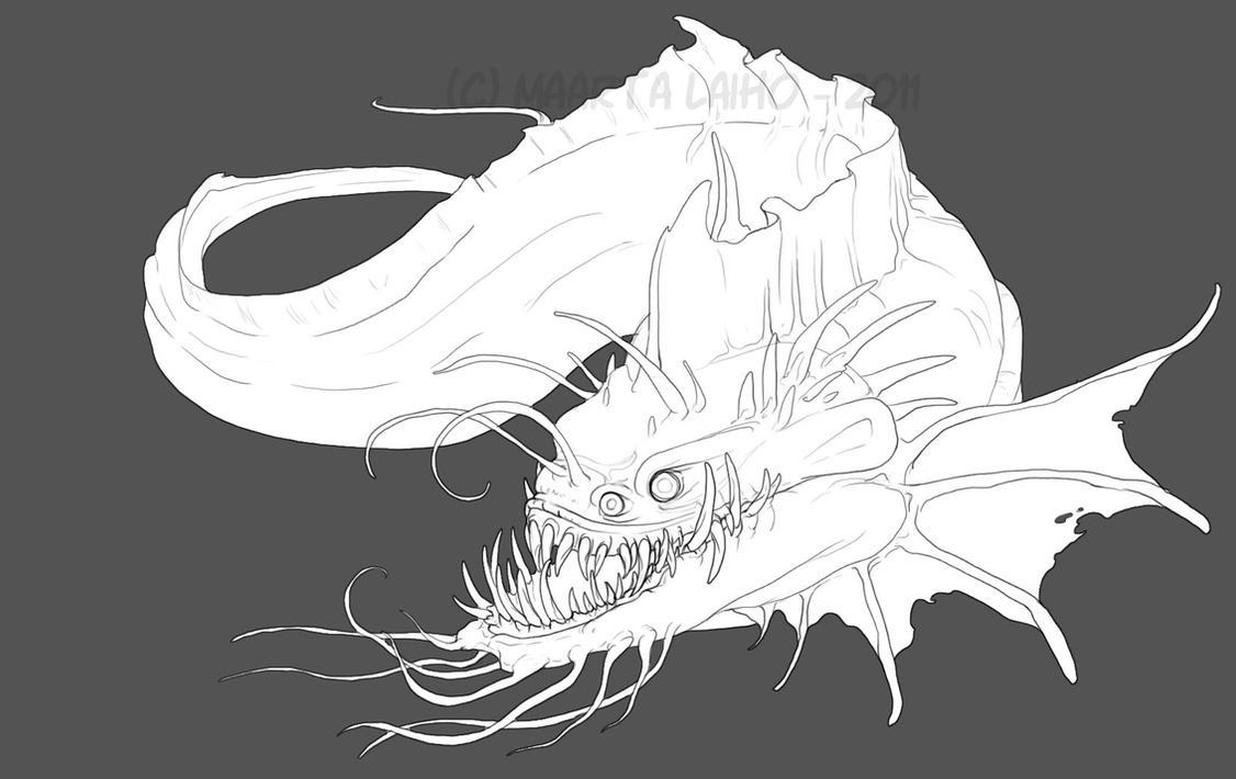 Line Drawing Monster : Sea monster lineart by abelphee on deviantart