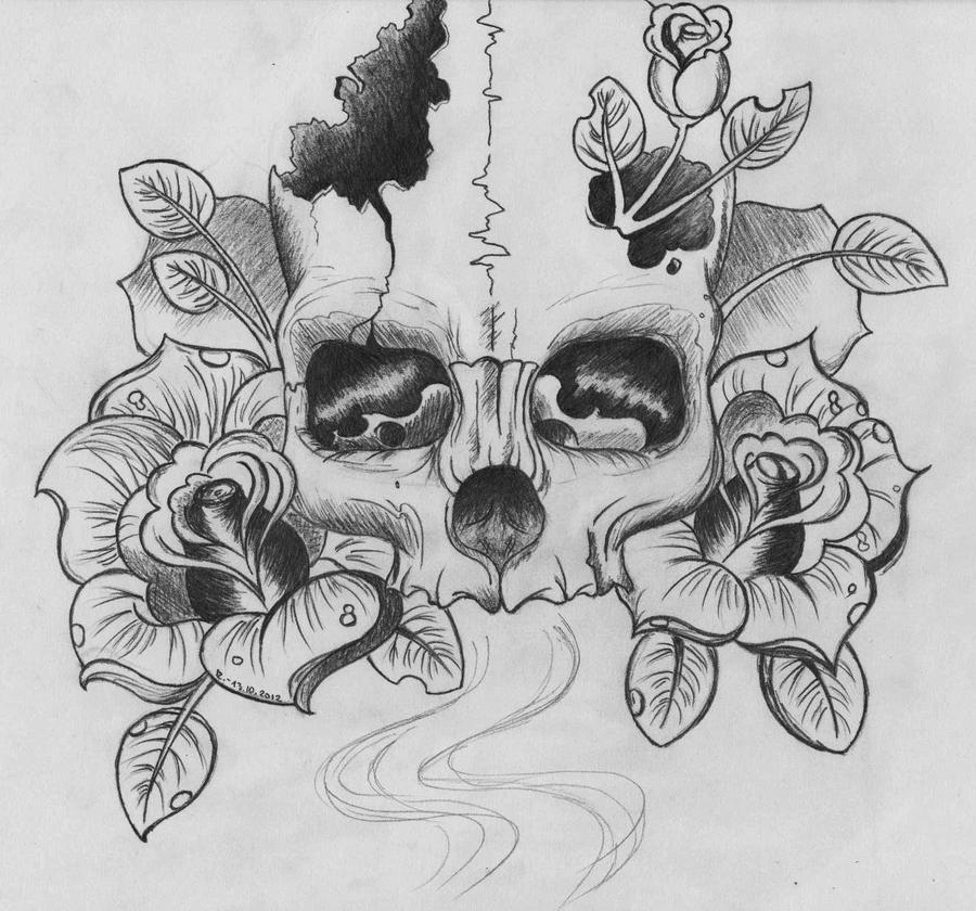 Skull and Roses by Karcoolkaaa on DeviantArt