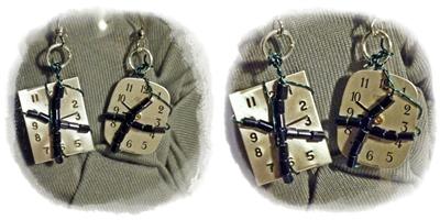 Beaded Watch Face Earrings by KCarey