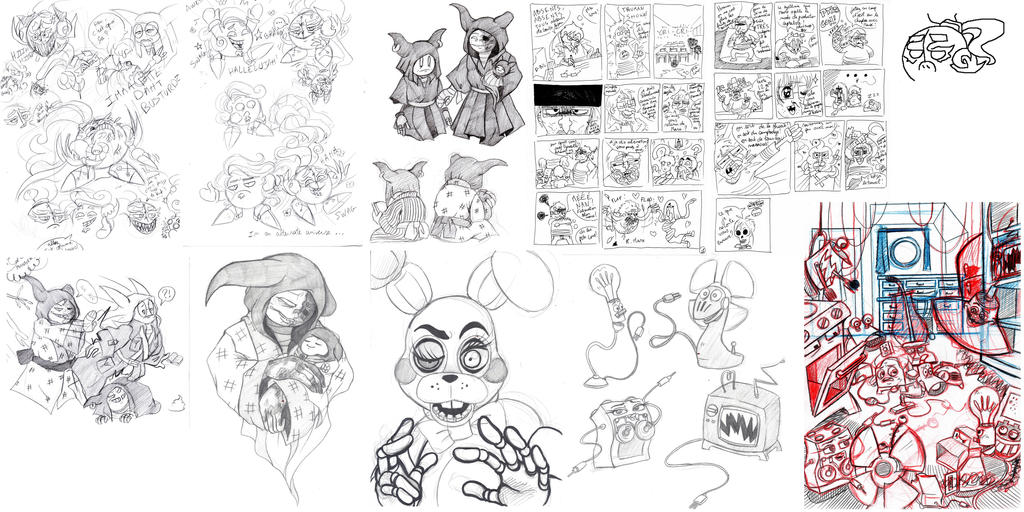 mixed up sketchdump by Kirbycutieslove76