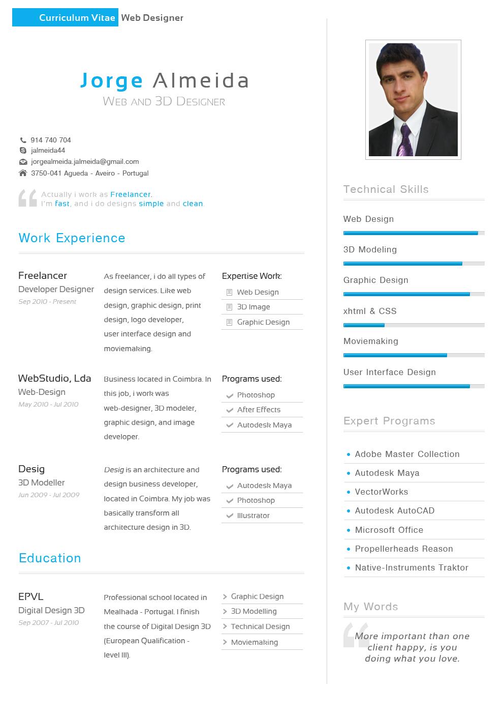 Curriculum Vitae - Jorge Almeida by TheDpStudio on DeviantArt