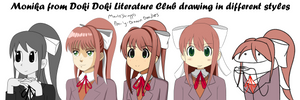 Monika drawn in different styles