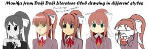 Monika drawn in different styles by MantisShrimpp