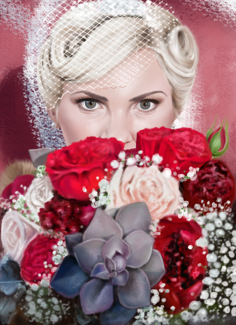 Girl and Flowers Digital Portrait by laracremon
