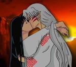 Sesshomaru and Sakura's First Kiss by LadySesshy