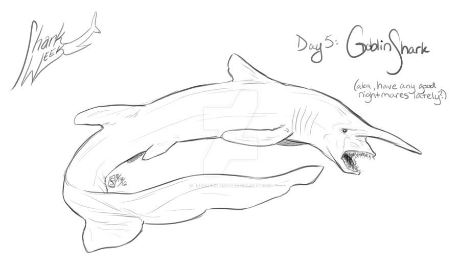 how to draw a goblin shark easy