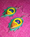 Peacock Feather Earrings  by VampireWarrior0303