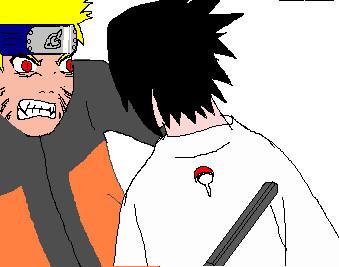 Naruto vs Sasuke on paint by X-men13
