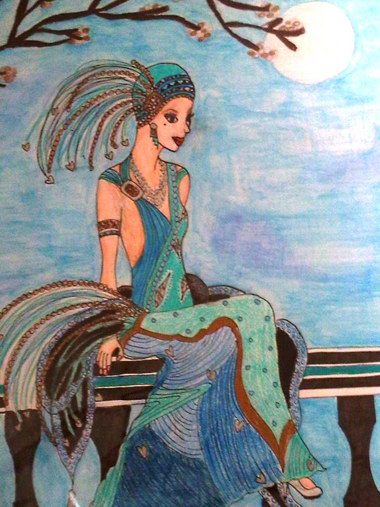 Lady deco sat on wall by danielles art on deviantart for Art deco wall colours