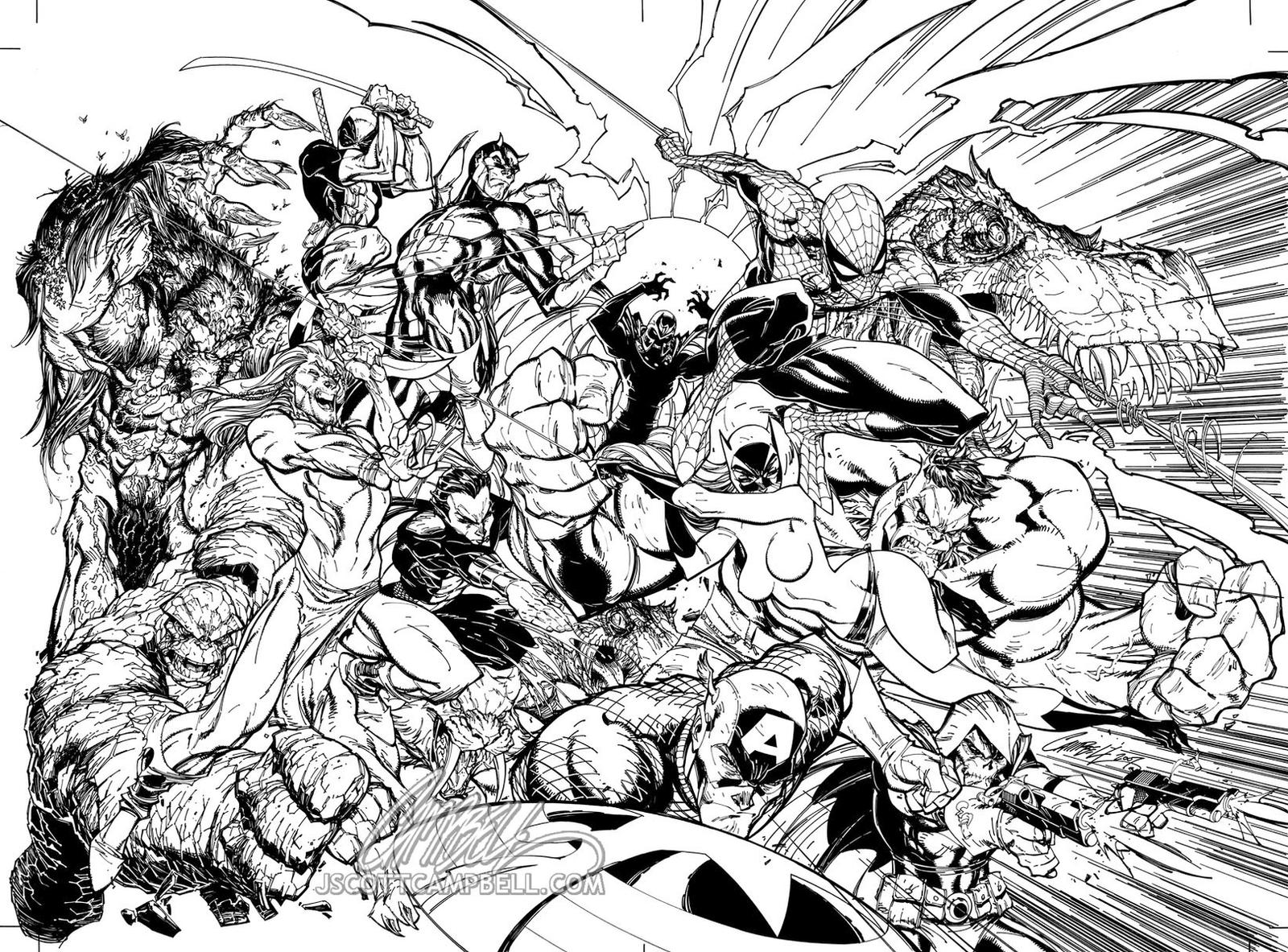 Marvel comics presents inks by j scott campbell on deviantart for Free marvel comic coloring pages