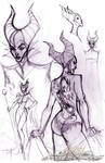Maleficent sketches by J-Scott-Campbell