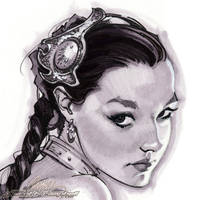 Slave Leia Christy 2 head by J-Scott-Campbell