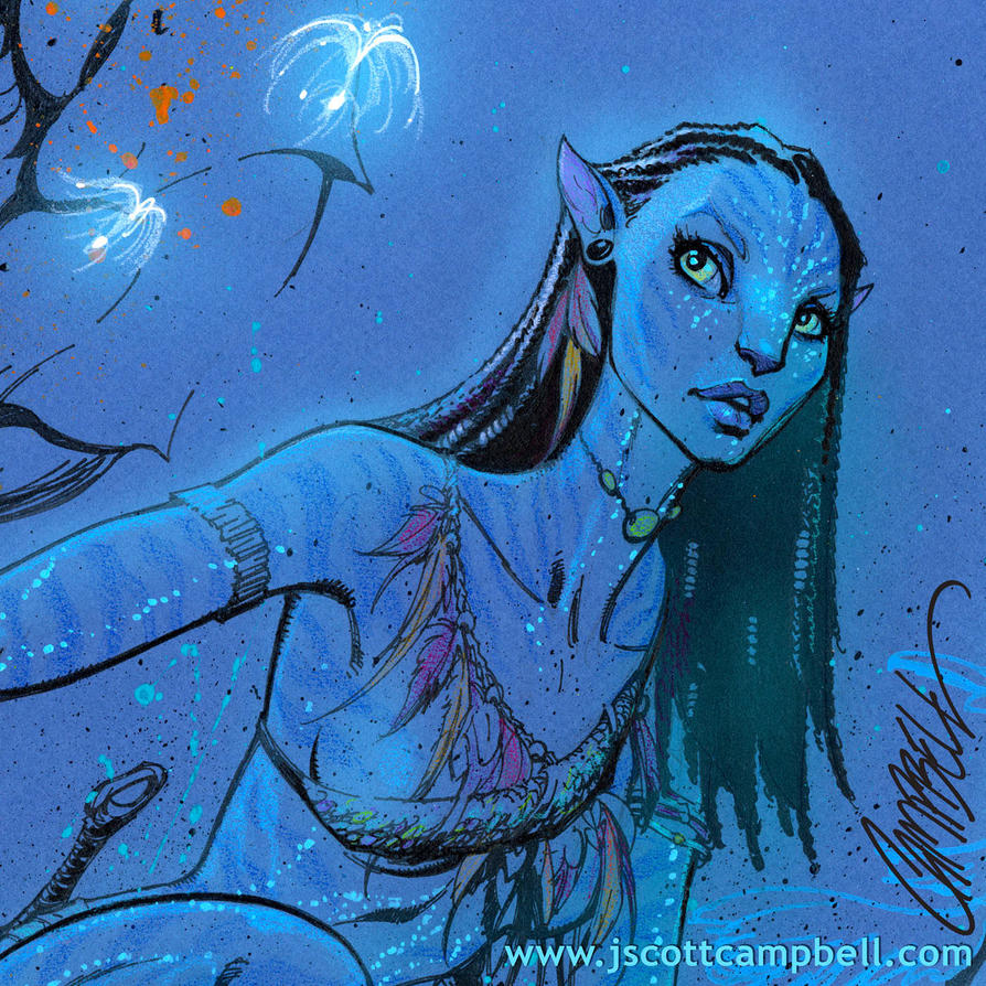 Neytiri Avatar: Neytiri Art On Blue Paper.