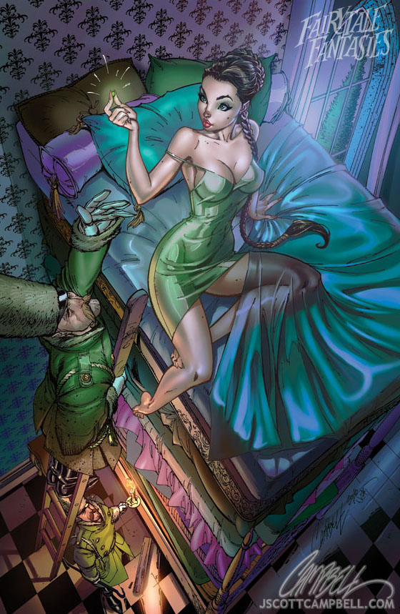 Диснеевские персонажи +18 Princess_and_the_pea_by_j_scott_campbell-d2yr845