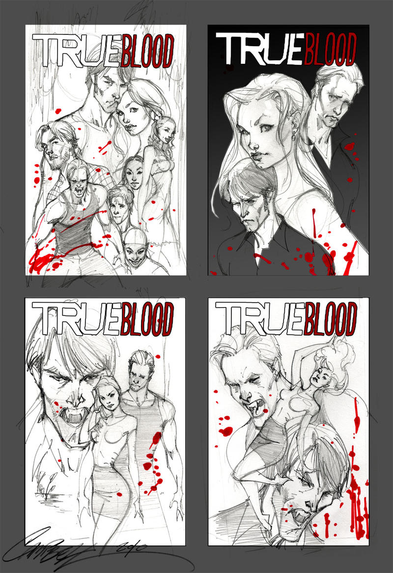 True Blood cover sketches 1 by J-Scott-Campbell
