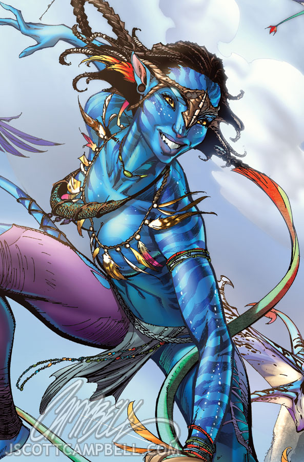 AVATAR comic art CLOSE-UP by J-Scott-Campbell