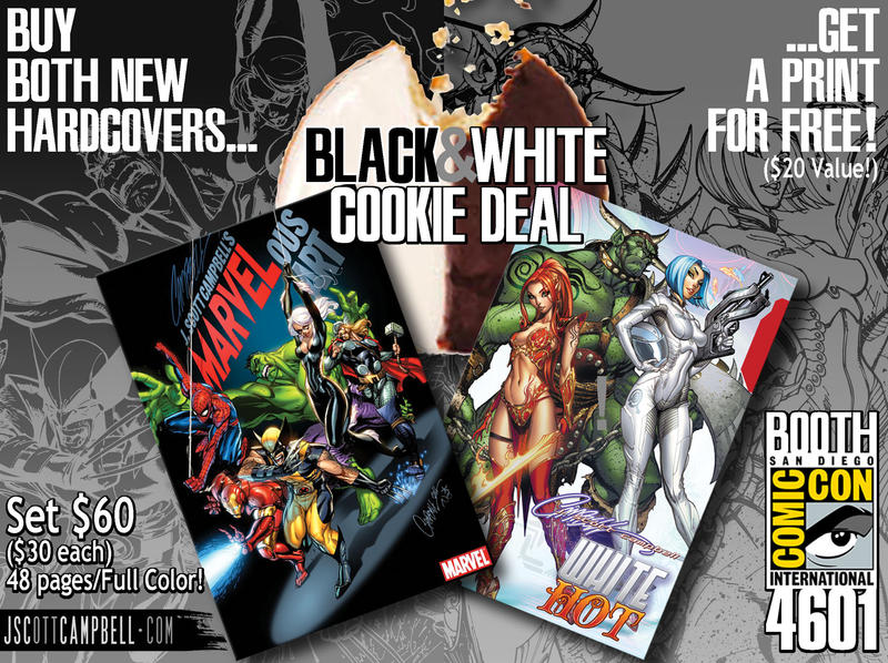 MARVELous Art and WHITE HOT HC by J-Scott-Campbell