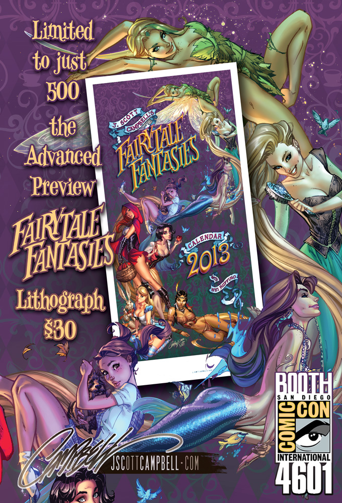 FairyTale Fantasies 2013 Advance Lithograph by J-Scott-Campbell