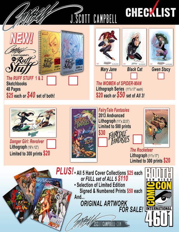J. Scott Campbell SDCC 2012 CHECKLIST by J-Scott-Campbell