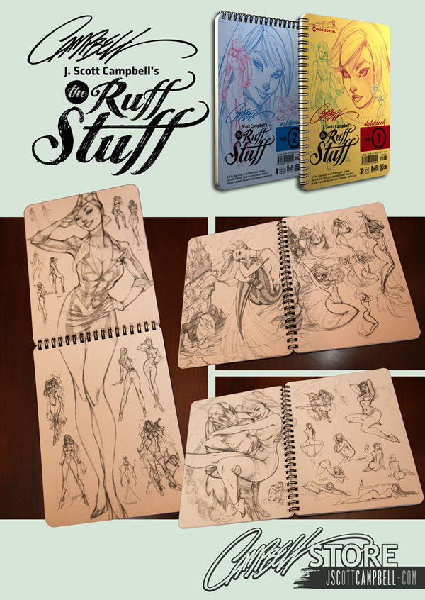 Ruff Stuff sketchbooks Vol 1 and 2 by J-Scott-Campbell