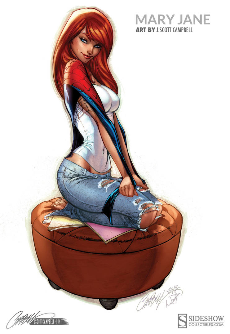 Mary Jane Sideshow Statue Print Artwork by J-Scott-Campbell