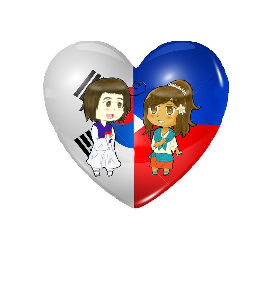 Chibi Heart Flag Couple: KorPiri by Spirit-Okami