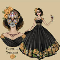 Sugar Skulls and Orange Roses