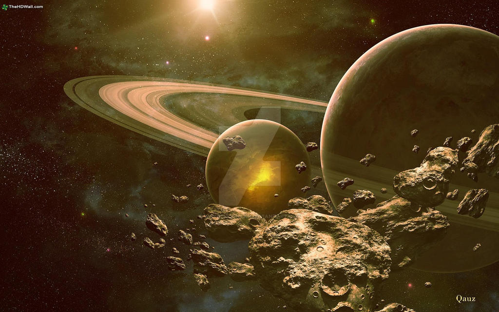 Outer Space Planets Rings Digital Art by waynemountan on ...