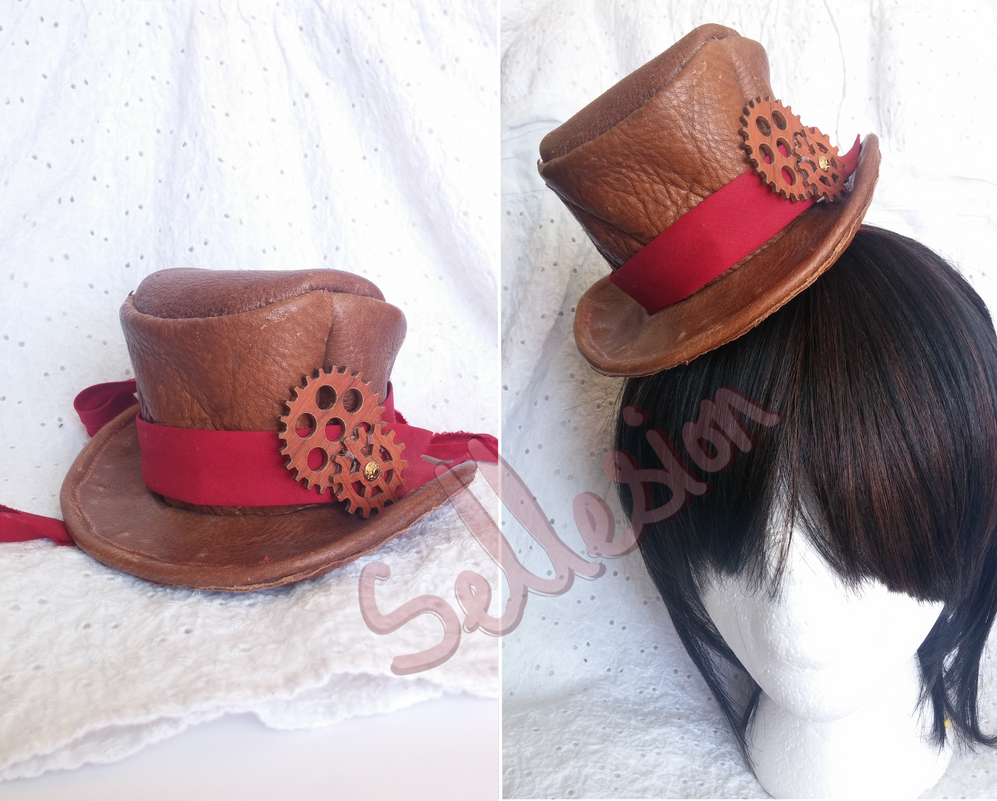 Leather Miniature Tophat by Sellesion