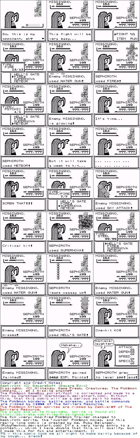 Sephiroth VS. MissingNo. 8-bit by RubyMewtwo