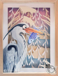 Heron papercut by Luna2330