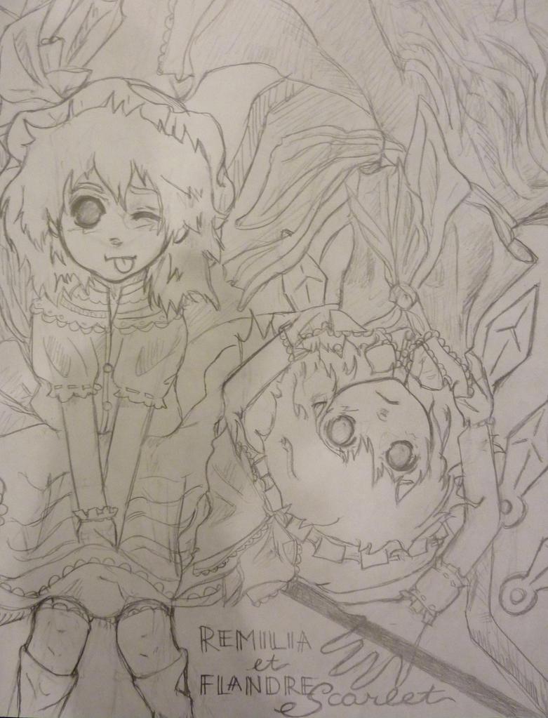 Remilia et Flandre Scarlet by chakupuchi