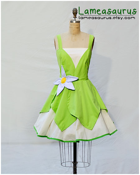 Tiana princess and the frong retro style dress by Lameasaurus-etsy