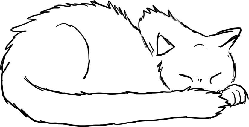 Line Drawing Kitten : Sleeping cat line art by shurikincat on deviantart