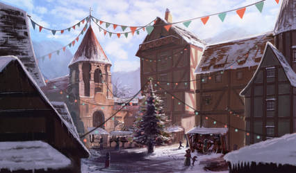 Study on a medieval town, during winter -Done!- by DrManhattan-VA