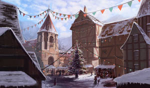 Study on a medieval town, during winter -4-