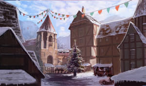 Study on a medieval town, during winter -3-